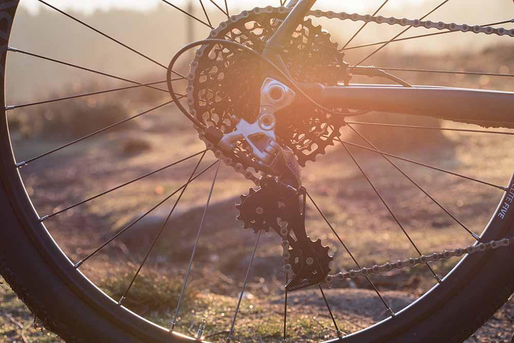 Rear wheel of a bikepacking bike