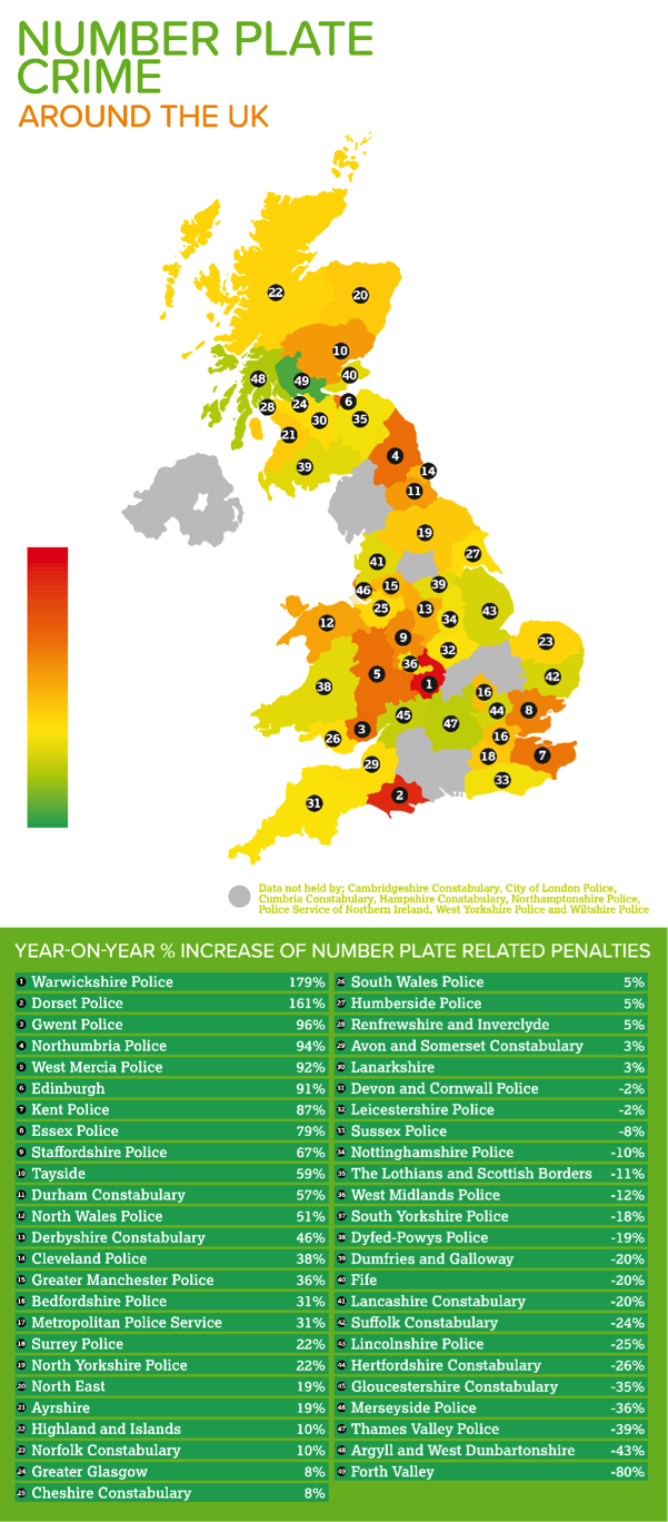 illegal number plates identified by UK police is on the rise