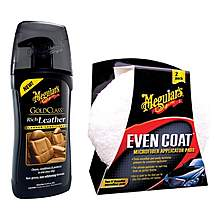 image of Meguiar's Gold Class Rich Leather Cleaner & Applicator Pads bundle