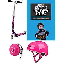 image of Micro Sprite Purple Stripe Kids Scooter Bundle
