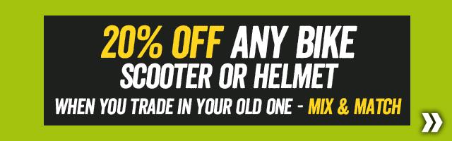 Our Biggest ever Cycling trade in - 20% off any Bike scooter or helmet when you trade in your old one (Mix and Match)