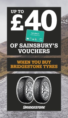 Up to £40 Sainsbury's vouchers with Bridgestone tyres