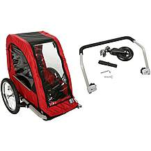 image of Halfords Single Child Bike Trailer & Bike Stroller Accessory Kit Bundle