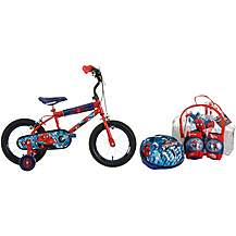 "image of Ultimate Spiderman Kids Bike 14"" and Helmet, Knee & Elbow Pad Backpack Set"