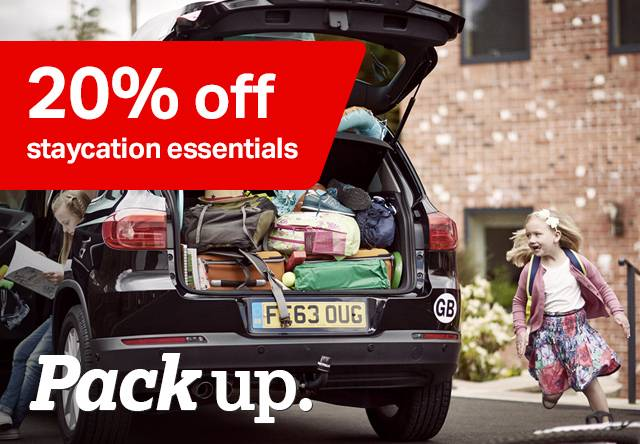 20% off a range of staycation essentials