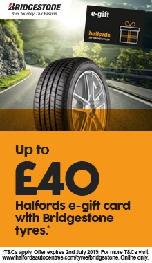 Up to £40 Halfords e-gift card with Bridgestone