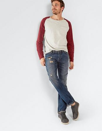 Dark Rip And Repair Straight Jeans