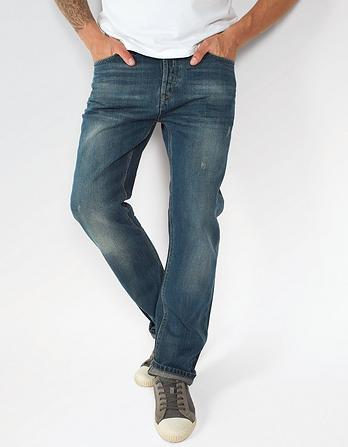 Green Cast Repair Straight Jeans