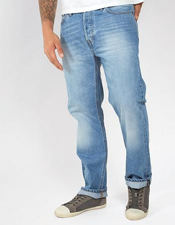 Stone Wash Straight Jeans