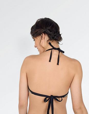 Textured Stripe Plunge Bikini Top