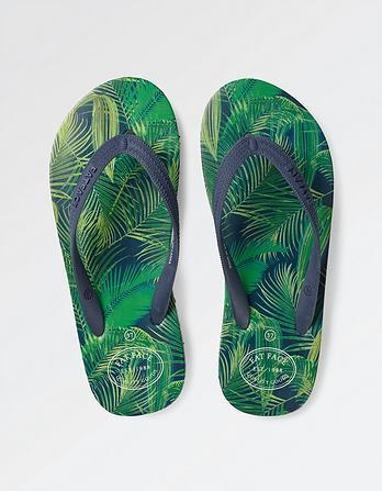 Palm Print Wrap Flip Flops