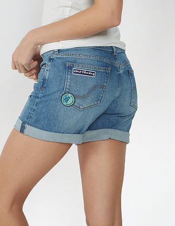 Badged Denim Shorts