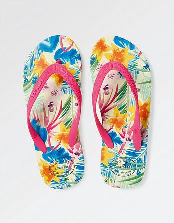 Watercolour Tropics Wrap Flip Flops