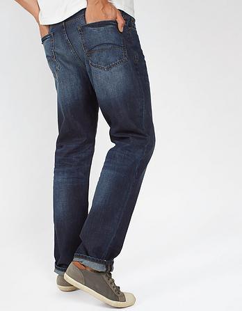 Vintage Dark Blue Straight Jeans