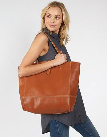 Large Buckle Leather Tote Bag