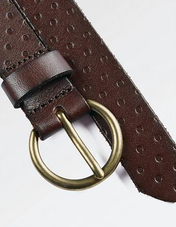 Leather Dot Embossed Belt