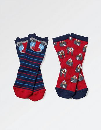 Two Pack Baboon Socks