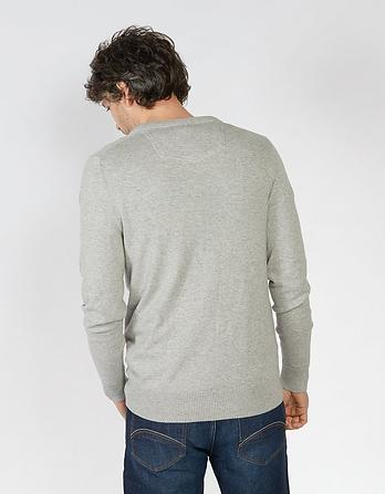 Cotton Cashmere V-Neck Jumper