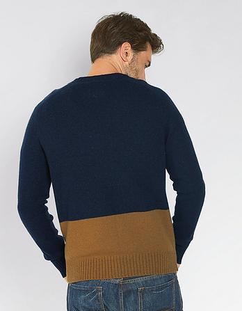 Denton Color Block Crew Neck Sweater