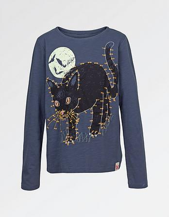 Glow In The Dark Halloween Cat T-Shirt