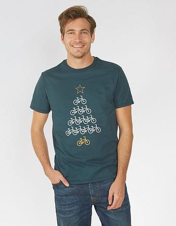 Bike Christmas Tree Graphic T-Shirt