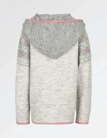 Fairisle Hooded Zip Through Hoody