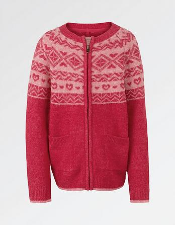 Fairisle Zip Thru Cardigan