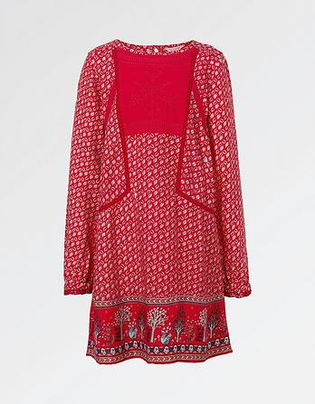 Isla Embroidered Print Dress