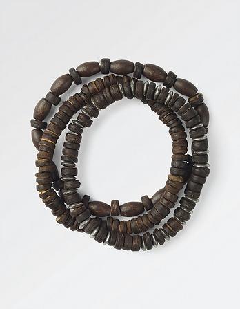 Three Pack Owen Bead Metal Bracelet