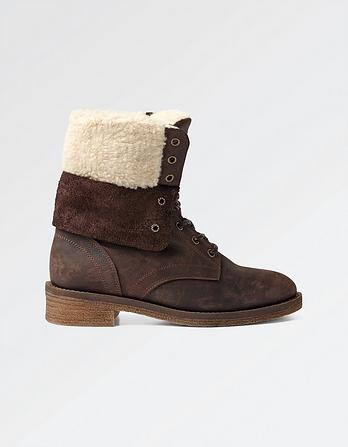 Cara Shearling Lace Up Boots