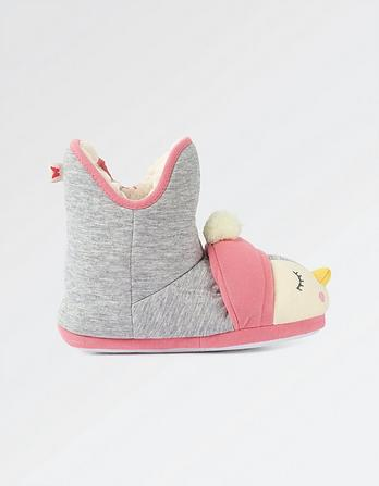 Girls Penguin Slipper Boot
