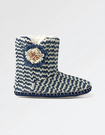 Poppy Stripe Slipper Boots