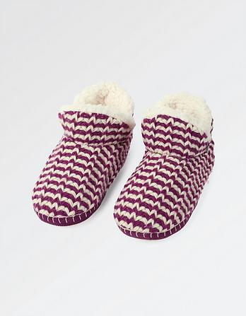 Poppy Short Stripe Slipper Boots