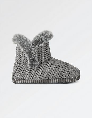Jessie Lurex Knit Slipper Boots