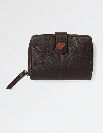 Heart Stud Zip-Around Leather Purse