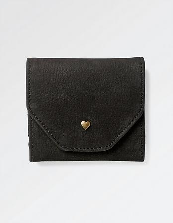 Heart Stud Fold Over Leather Purse
