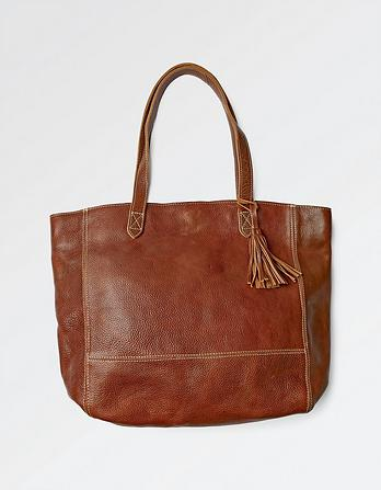 Large Tassel Leather Tote Bag