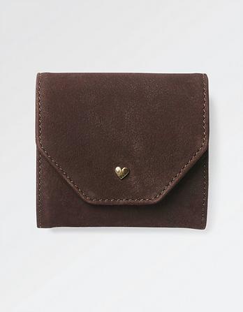 Heart Stud Fold Over Leather Purse