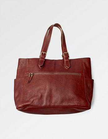 Zoe Leather Zip Tote Bag