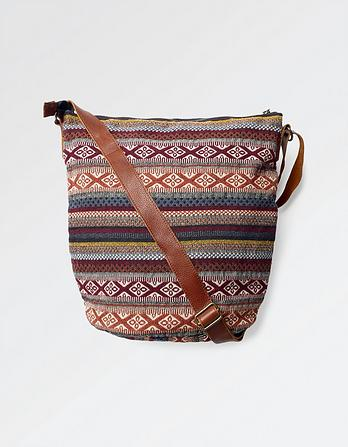 Tia Woven Stripe Cross Body Bag