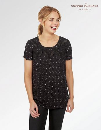 Hannah Mono Polka Dot Top
