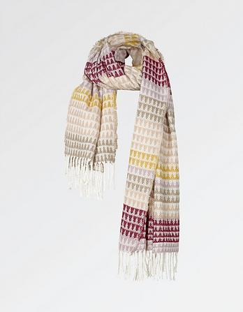 Triangle Stripe Brushed Scarf
