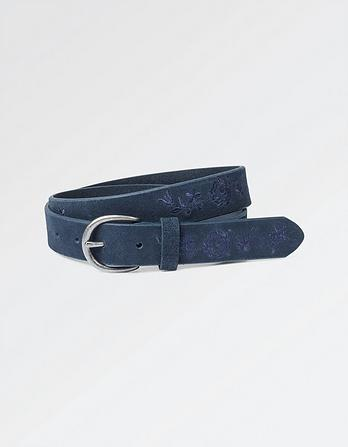 Suede Embroidered Belt