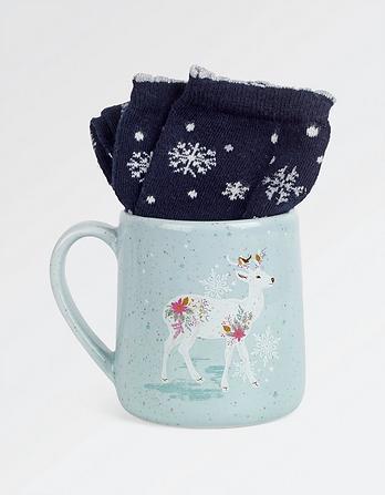 Reindeer Socks in a Mug