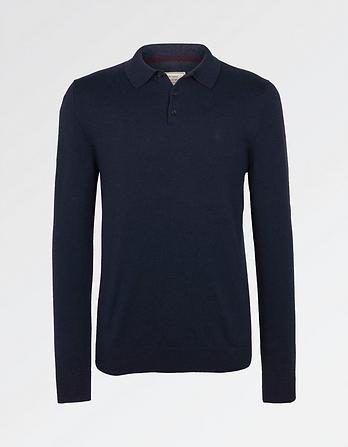 Cotton Cashmere Polo Collar Jumper