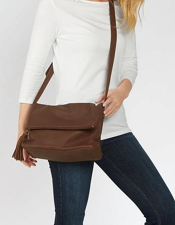 Sabrina Leather Fold Over Bag