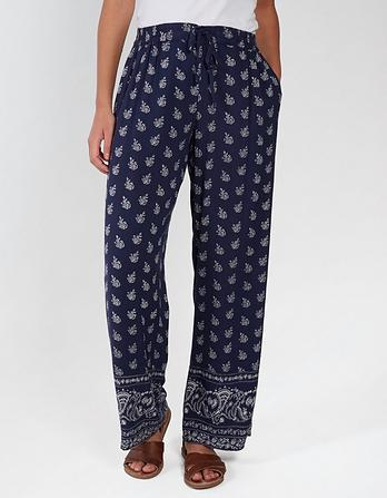 Woodblock Floral Wide Leg Pants