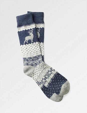 One Pack Wool Blend Stag Socks
