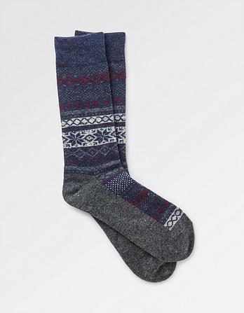 One Pack Wool Blend Fairisle Socks