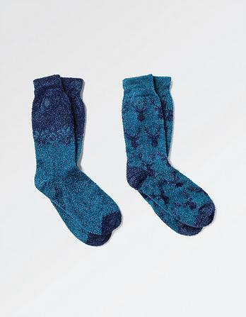 Two Pack Stag Head Mallory Socks